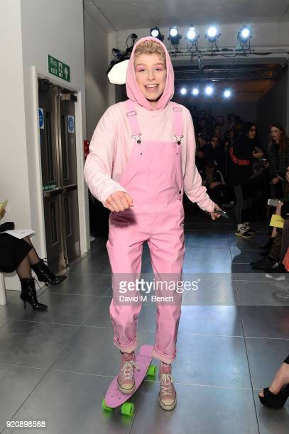 Charlie Barker attends the Nicopanda show during London Fashion Week February 2018 at TopShop Show Space on February 19, 2018 in London, England.