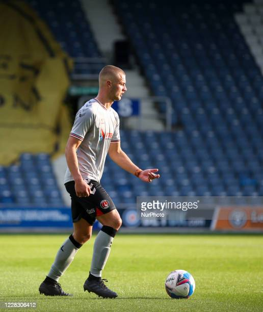 LONDON ENGLAND SEPT 1ST 2020 Charlie Barker of Charlton Athletic on the ball during the EFL Trophy match between AFC Wimbledon and Charlton Athletic...