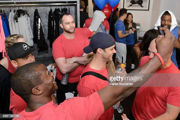 Charlie Barnett and Edwin Hodge attend as the casts of Chicago Fire and Chicago PD participate in a Flywheel Sports ride to benefit the 100 Club of...