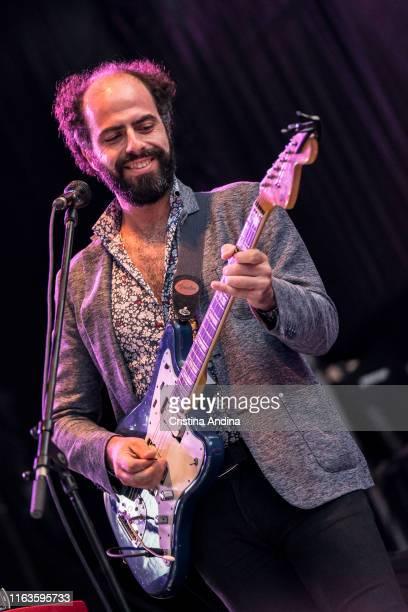Charlie Bautista, guitarist of Xoel López, perfoms on stage on July 21, 2019 in Santiago de Compostela, Spain.