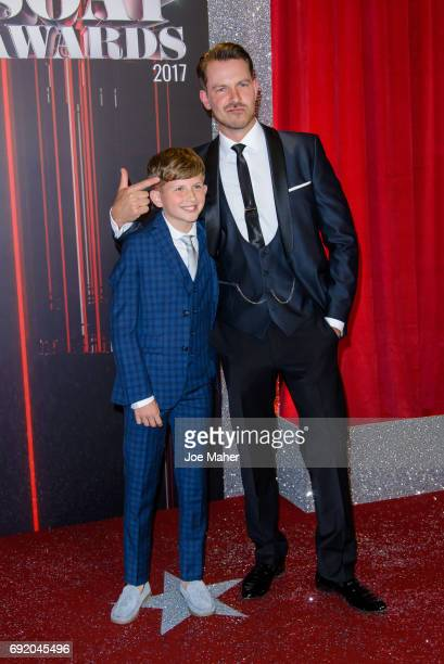 Charlie Behan and Ashley Taylor Dawson attend the British Soap Awards at The Lowry Theatre on June 3 2017 in Manchester England