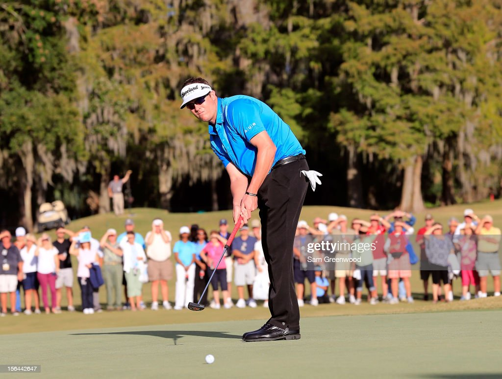 Charlie Beljan plays a shot during the third round of the Children's Miracle Network Hospitals Classic at the Disney Magnolia course on November 10, 2012 in Lake Buena Vista, Florida.