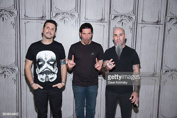 Charlie Benante Frank Bello and Scott Ian of the thrash metal band Anthrax attends AOL Build Speaker Series at AOL Studios In New York on January 13...