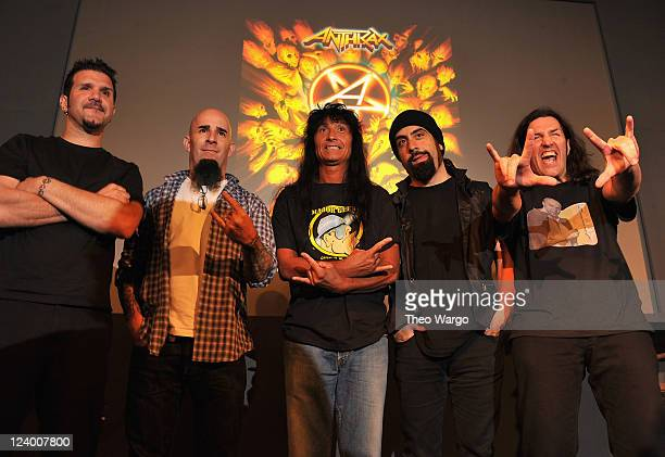Charlie Benante Scott Ian Joey Belladonna Rob Caggiano and Frank Bello of Anthrax visit the Apple Store Soho on September 7 2011 in New York City