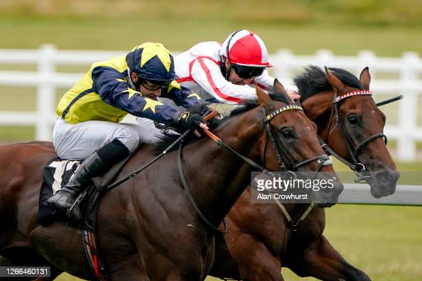 Charlie Bishop riding Surrey Pride win The Unibet 3 Uniboosts A Day Handicap at Newbury Racecourse on August 15 2020 in Newbury England Owners are...
