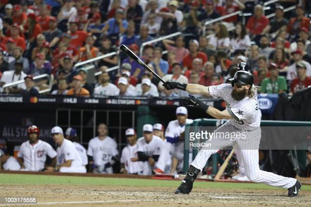 Charlie Blackmon of the Colorado Rockies and the National League bats during the 89th MLB AllStar Game presented by Mastercard at Nationals Park on...