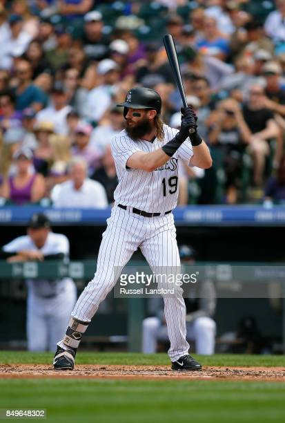Charlie Blackmon of the Colorado Rockies bats during a regular season MLB game between the Colorado Rockies and the visiting San Diego Padres at...
