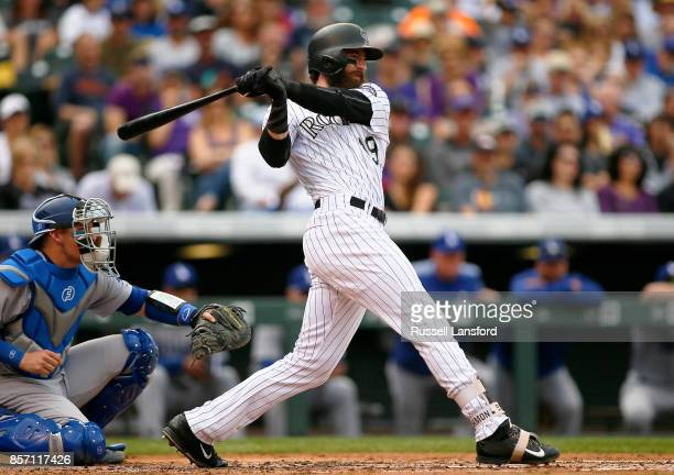 Charlie Blackmon of the Colorado Rockies bats during a regular season MLB game between the Colorado Rockies and the visiting Los Angeles Dodgers at...