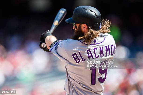 Charlie Blackmon of the Colorado Rockies bats during the game against the Washington Nationals at Nationals Park on Saturday April 14 2018 in...