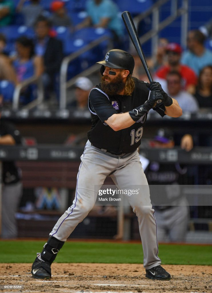 Charlie Blackmon #19 of the Colorado Rockies bats in the ninth inning against the Miami Marlins at Marlins Park on April 29, 2018 in Miami, Florida.
