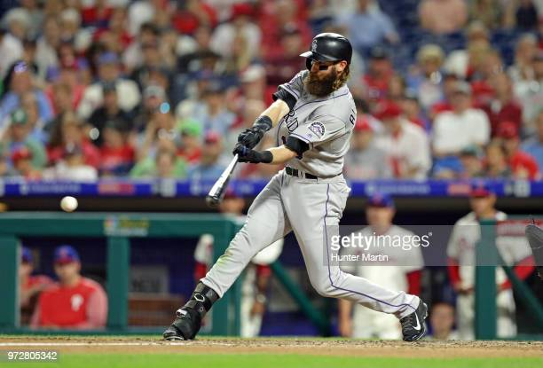 Charlie Blackmon of the Colorado Rockies bats in the sixth inning during a game against the Philadelphia Phillies at Citizens Bank Park on June 12...
