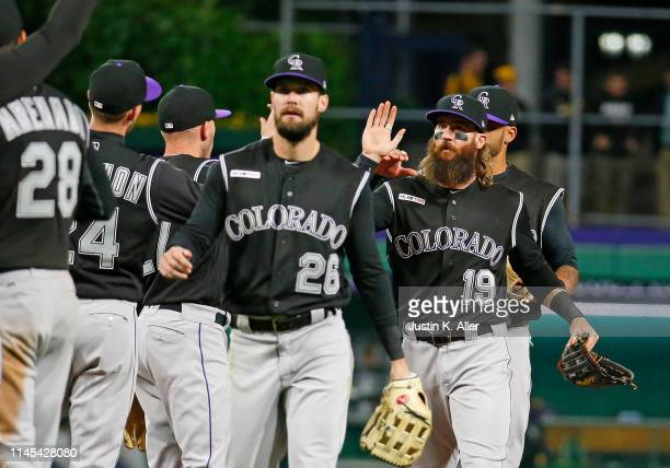 Charlie Blackmon of the Colorado Rockies celebrates after defeating the Pittsburgh Pirates 5-0 at PNC Park on May 21, 2019 in Pittsburgh,...