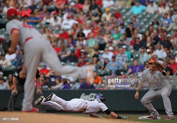 Charlie Blackmon of the Colorado Rockies dives safely back to first base as starting pitcher Shelby Miller of the St. Louis Cardinals makes a pick...