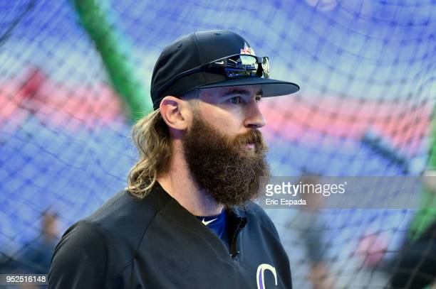 Charlie Blackmon of the Colorado Rockies during batting practice before the start of the game against the Miami Marlins at Marlins Park on April 28...