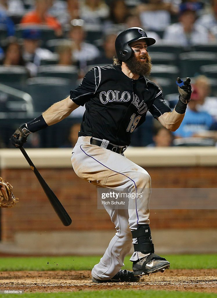 Charlie Blackmon #19 of the Colorado Rockies hits a double against the New York Mets in the ninth inning of a game at Citi Field on July 29, 2016 in the Flushing neighborhood of the Queens borough of New York City. The Rockies defeated the Mets 6-1.