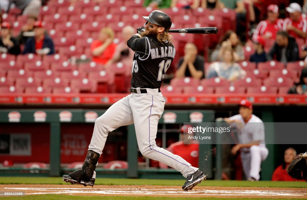 Charlie Blackmon #19 of the Colorado Rockies hits a double in the first inning against the Cincinnati Reds at Great American Ball Park on May 19, 2017 in Cincinnati, Ohio.