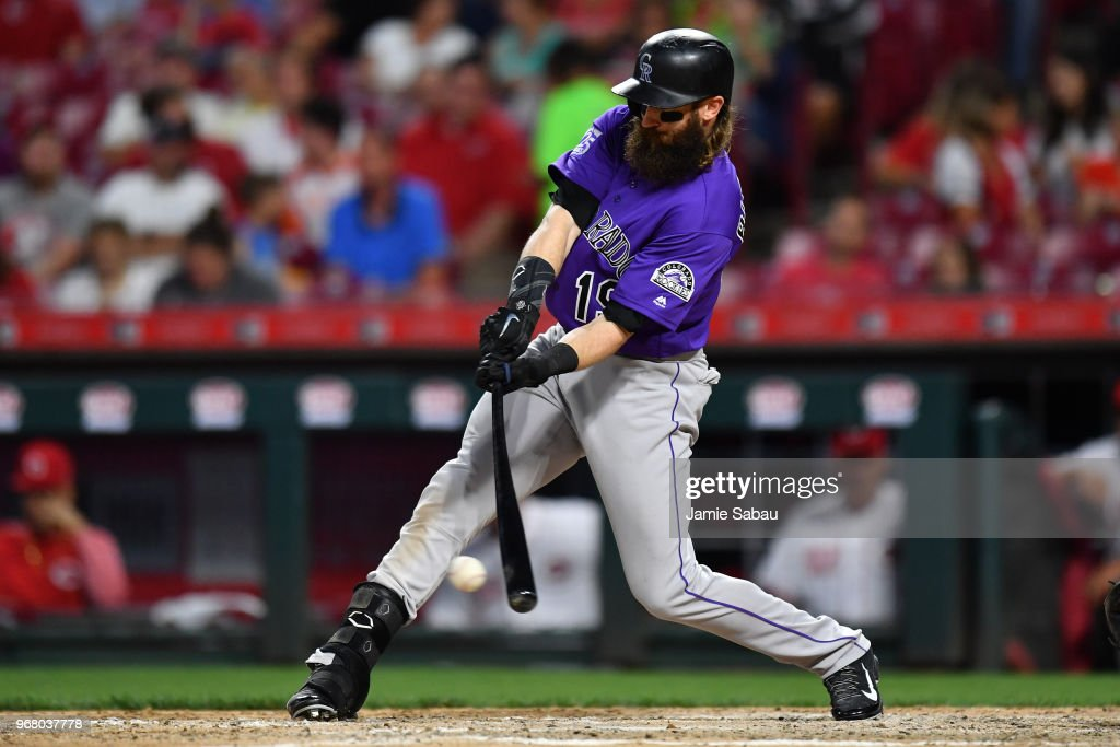 Charlie Blackmon #19 of the Colorado Rockies hits a single in the seventh inning against the Cincinnati Reds at Great American Ball Park on June 5, 2018 in Cincinnati, Ohio. Colorado defeated Cincinnati 9-6.