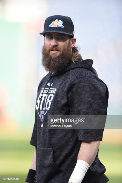 Charlie Blackmon of the Colorado Rockies looks on during batting practice of a baseball game against the Washington Nationals at Nationals Park on...