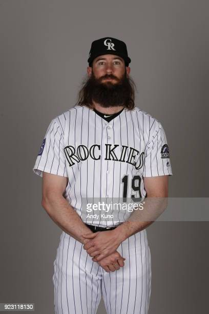 Charlie Blackmon of the Colorado Rockies poses during Photo Day on Thursday February 22 2018 at Salt River Fields at Talking Stick in Scottsdale...
