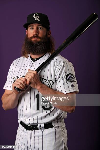Charlie Blackmon of the Colorado Rockies poses on photo day during MLB Spring Training at Salt River Fields at Talking Stick on February 22 2018 in...