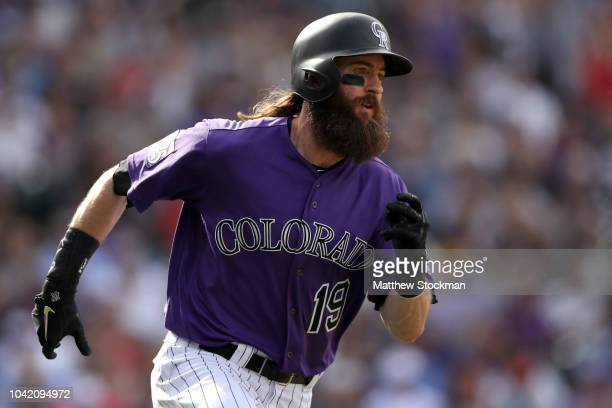 Charlie Blackmon of the Colorado Rockies runs down the baseline after hitting a double in the seventh inning against the Philadelphia Phillies at...