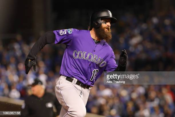 Charlie Blackmon of the Colorado Rockies runs the bases during the National League Wild Card game against the Chicago Cubs at Wrigley Field on...