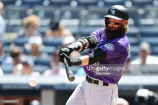 Charlie Blackmon of the Colorado Rockies singles to left field in the fourth inning against the New York Yankees at Yankee Stadium on July 21, 2019...