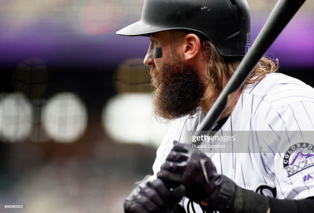 Charlie Blackmon #19 of the Colorado Rockies waits on deck in the first inning of a regular season MLB game against the Los Angeles Dodgers at Coors Field on October 1, 2017 in Denver, Colorado.