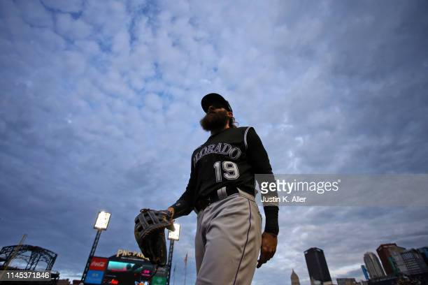 Charlie Blackmon of the Colorado Rockies walks off the field against the Pittsburgh Pirates at PNC Park on May 21, 2019 in Pittsburgh, Pennsylvania.