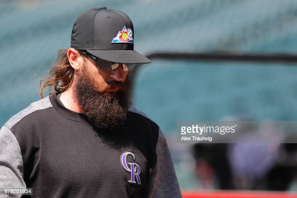 Charlie Blackmon of the Colorado Rockies walks on the field ahead of a game against the New York Mets at Coors Field on Monday June 18 2018 in Denver...