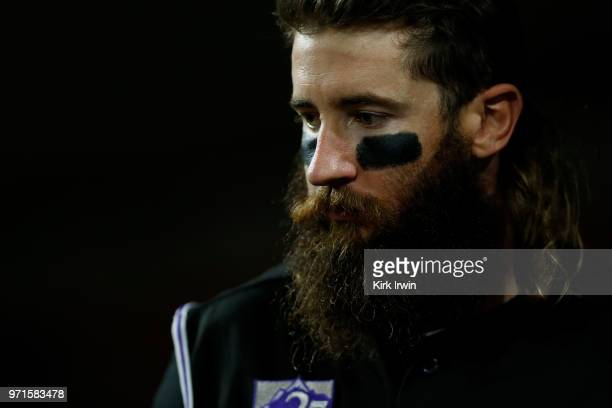 Charlie Blackmon of the Colorado Rockies walks out of the dugout during the game against the Cincinnati Reds at Great American Ball Park on June 6...