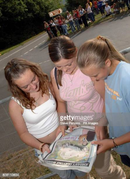 Charlie Blagdon, aged 13 from Yeovil, Jade Cochrane, aged 14 from Yeovil, and Jessica Glover, aged 11 from Andover read about the wedding of Jordan...