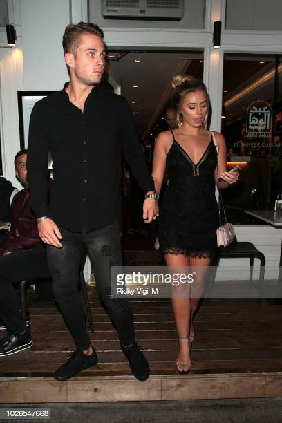 Charlie Brake and Ellie Brown seen on a night out at Abd el Wahab Lebanese restaurant on September 3 2018 in London England