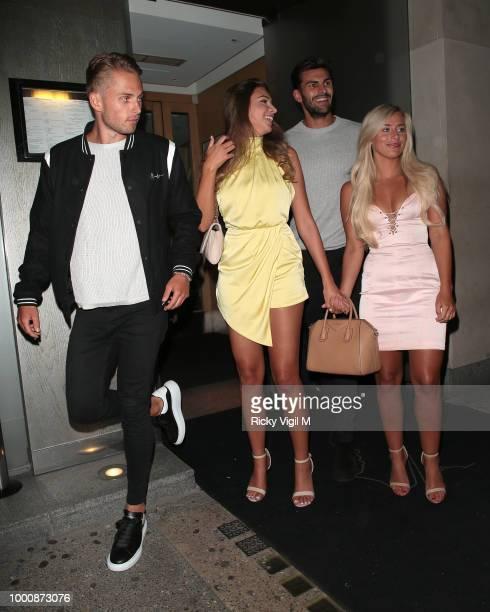 Charlie Brake Zara McDermott Adam Collard and Ellie Brown seen on a night out leaving Nobu Berkeley on July 17 2018 in London England