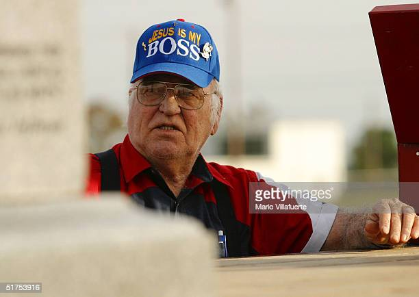 Charlie Breazeace of Longview Texas looks at the granite Ten Commandments monument that was removed in 2003 from the Alabama Judicial Building...