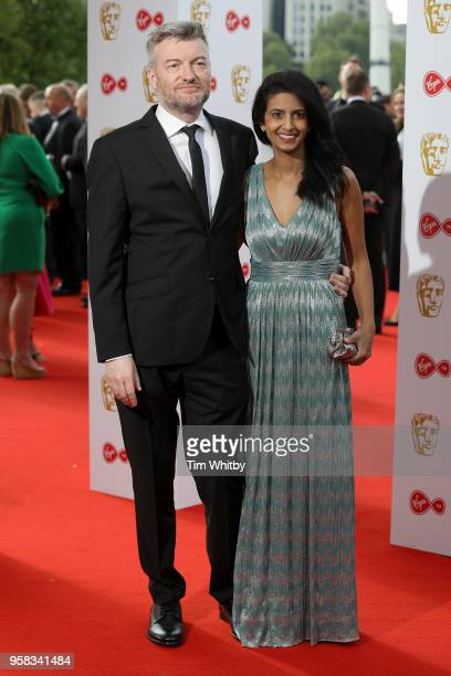 Charlie Brooker and Connie Huq attend the Virgin TV British Academy Television Awards at The Royal Festival Hall on May 13, 2018 in London, England.
