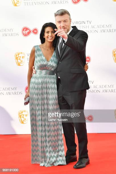Charlie Brooker and Konnie Huq attend the Virgin TV British Academy Television Awards at The Royal Festival Hall on May 13, 2018 in London, England.