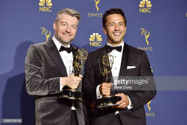 Charlie Brooker and William Bridges attend the 70th Emmy Awards Press Room at Microsoft Theater on September 17 2018 in Los Angeles California