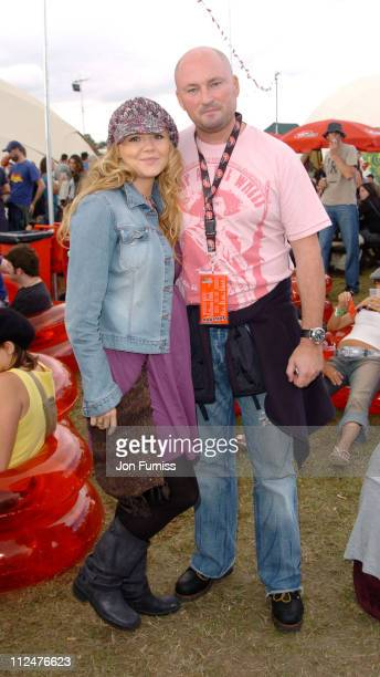 Charlie Brooks and guest during 2004 V Festival Chelmsford Day 2 Virgin Mobile Louder Lounge at Hylands Park in Chelmsford Great Britain