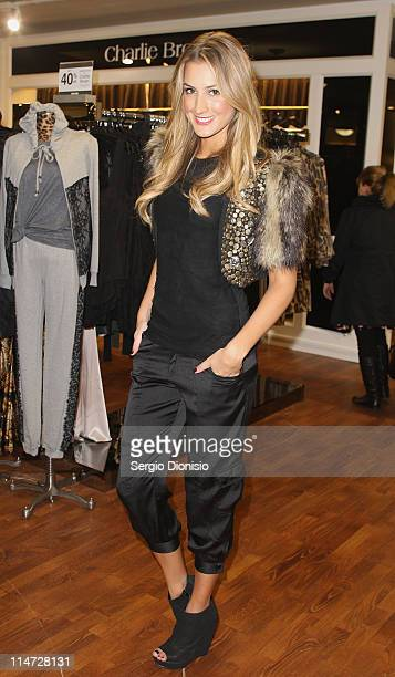 Charlie Brown Ambassador Laura Dundovic poses at Myer Sydney City on May 26 2011 in Sydney Australia Myer added 30 new labels to it's offering...