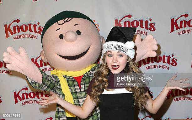 Charlie Brown and actress Brec Bassinger attend Knott's Berry Farm's Countdown To Christmas And Snoopy's Merriest Tree Lighting at Knott's Berry Farm...