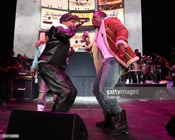 """Charlie Brown and Puff Daddy perform during Hot 97's """"Busta Rhymes And Friends: Hot For The Holidays"""" concert at Prudential Center on December 5,..."""
