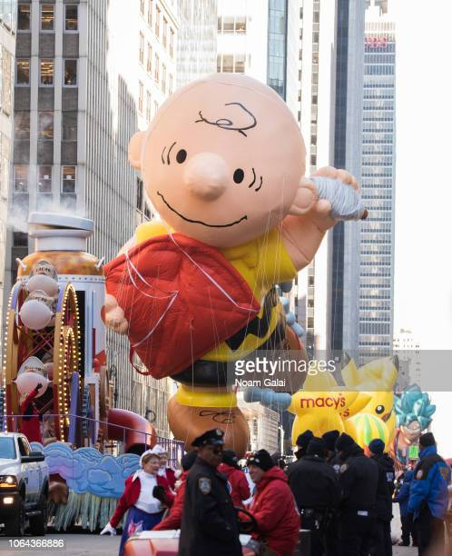 Charlie Brown balloon is seen at the 2018 Macy's Thanksgiving Day Parade on November 22, 2018 in New York City.