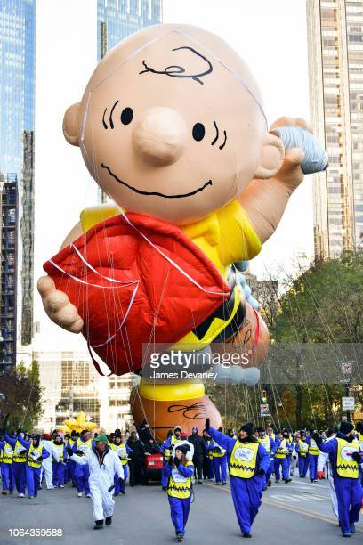 Charlie Brown balloon seen at the 92nd Annual Macy's Thanksgiving Day Parade on November 22, 2018 in New York City.