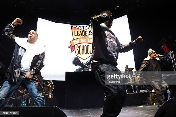 """Charlie Brown, Dinco D, and Busta Rhymes reunite Leaders of the New School during Hot 97's """"Busta Rhymes and Friends: Hot for the Holidays"""" at..."""
