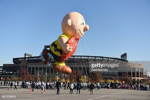 Charlie Brown flies at Macy's Balloonfest in preparation for the 90th Anniversary Macy's Thanksgiving Day Parade at Citi Field on November 5, 2016 in...
