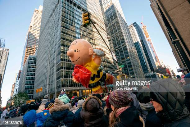 Charlie Brown float over the crowd during the 92nd Annual Macy's Thanksgiving Day Parade on November 22 in New York.
