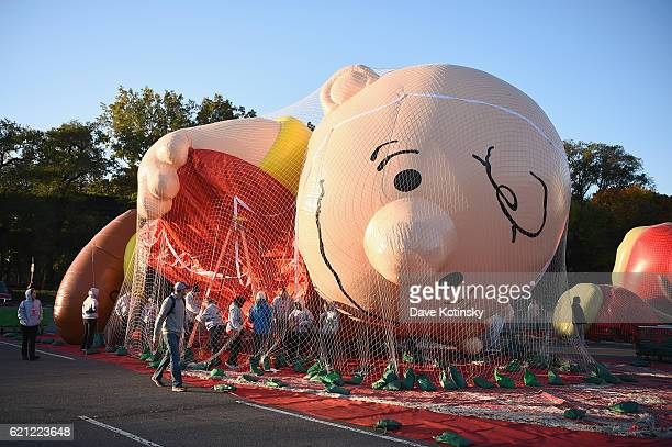 Charlie Brown inflates at Macy's Balloonfest in preparation for the 90th Anniversary Macy's Thanksgiving Day Parade at Citi Field on November 5, 2016...