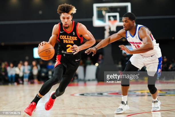 Charlie Brown Jr #2 of the College Park Skyhawks drives around Khalil Iverson of the Grand Rapids Drive during the third quarter an NBA GLeague game...