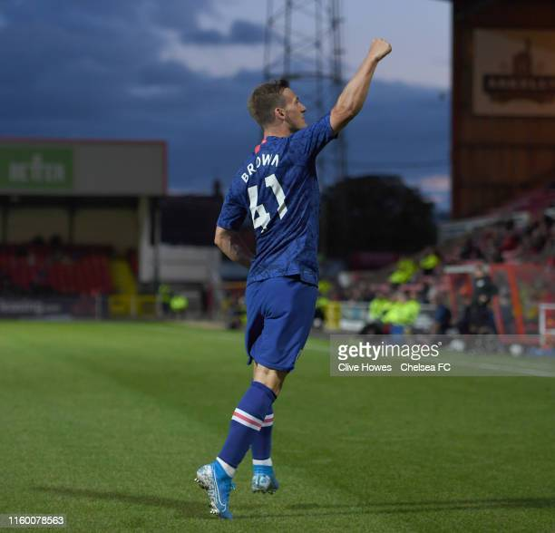 Charlie Brown of Chelsea celebrates his goal during the Swindon Town v Chelsea Development Squad EFL Trophy match at The County Ground on August 6th...